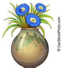 bleu, pot, fleurs