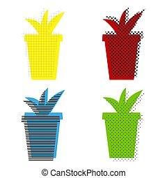 bleu, pot fleurs, signe, jaune, vert, vector., ic, rouges, illustration.