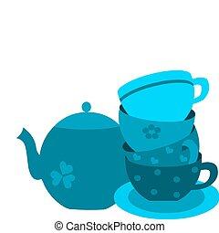 bleu, pot thé, quatre, plate-2, tasses
