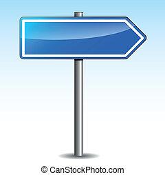 bleu, poteau indicateur, vecteur, directionnel