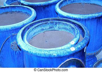 bleu, pots, argile