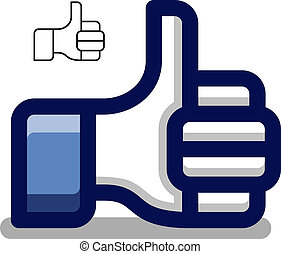 bleu, pouce, symbole, haut, main, vecteur