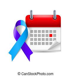 bleu, pourpre, calendrier, ruban, conscience