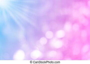bleu, pourpre, coloré, pastel, brouillé, lumières, bokeh, arrière-plan rose, matin