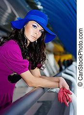 bleu, pourpre, girl, chapeau, robe
