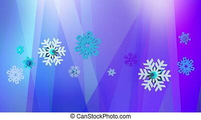 bleu, pourpre, résumé, flocons neige