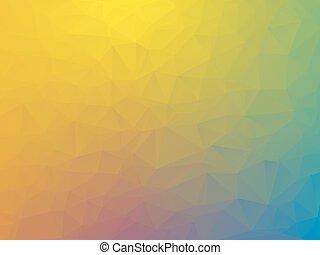 bleu, pourpre, vert, fond jaune