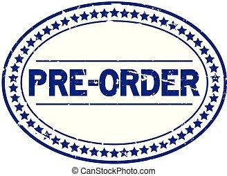 bleu, pré, grunge, timbre, caoutchouc, fond, cachet, ovale, blanc, ordre