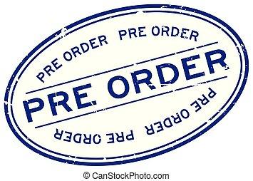 bleu, pré, grunge, timbre, caoutchouc, fond, cachet, ovale, mot, blanc, ordre