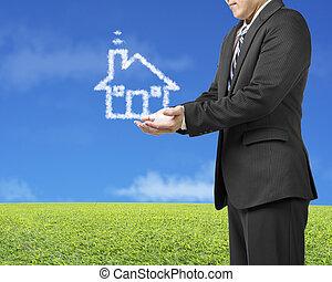 bleu, pré, ouverture, maison, ciel, forme, arrière-plan vert, homme affaires, paume, nuage