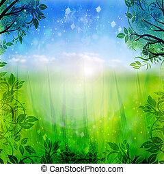 bleu, printemps, arrière-plan vert