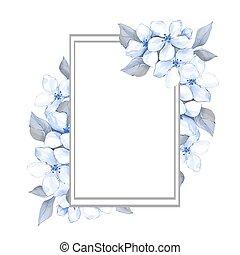 bleu, printemps, cadre, 2, floral, fleurs