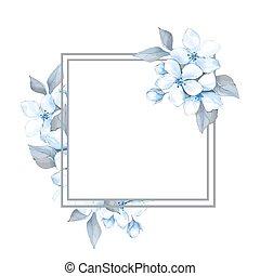 bleu, printemps, cadre, fleurs, floral