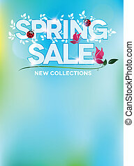 bleu, printemps, conception, vente, frais