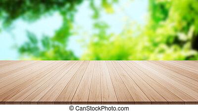 bleu, produit, feuille, montage, sommet, ciel, exposer, bois, arrière-plan vert, table, ou, vide