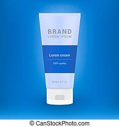 bleu, produit, gabarit, tube, illustration, vecteur, conception, produits de beauté, fond, advertising., blanc
