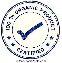 bleu, produit, grunge, timbre, cent, joint en caoutchouc, organique, 100, rond, certifié