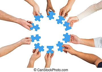 bleu, professionnels, puzzle, créatif, tenue, morceaux
