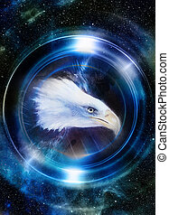 bleu, profil, earth., hiver, espace, concept, lumière, collage., cosmique, effet, color., planète, portrait., animal, miroir, aigle, original, peinture, circle.