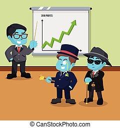 bleu, profit, années, ceci, présentation, homme affaires