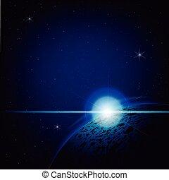 bleu, profond, espace, éclipse, illustration, lunaire, fond