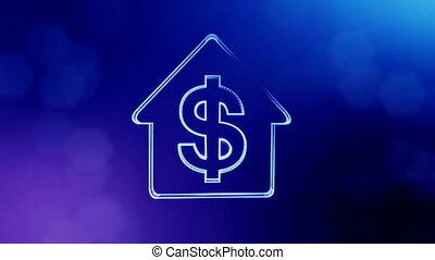 bleu, profondeur, copie, emblème, finance, espace, dollar, house., seamless, fond, signe, bokeh, animation, v4, champ, text., lumineux, particles., ton, 3d