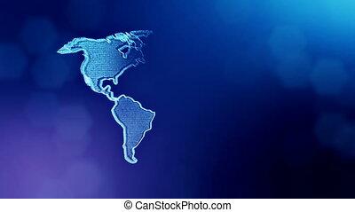 bleu, profondeur, copie, fond, icône, v2, couleur, vitrtual, seamless, space., particules, fait, bokeh, animation, champ, america., hologram., 3d, lueur