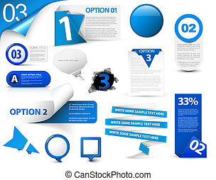 bleu, progrès, ensemble, vecteur, icônes