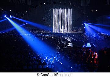 bleu, projecteur, concert