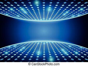 bleu, projecteurs, fond