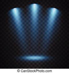 bleu, projecteurs, fond, transparent