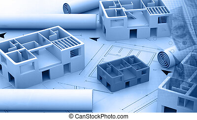 bleu, projet, impression, architectural