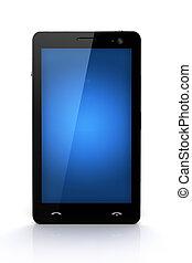 bleu, propre, écran, -, isolé, téléphone portable, conception