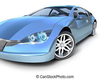 bleu, propre, voiture, conception, sport, mon