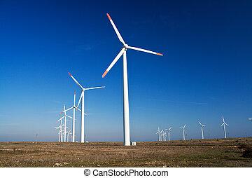 bleu, puissance, ciel clair, générateurs, vent