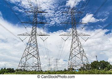 bleu, puissance, ciel, contre, haute tension, pylône
