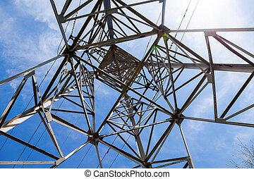 bleu, puissance, transmission, ciel, contre, sous, tour, vue, structure, ascendant