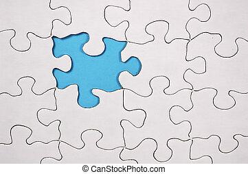 bleu, puzzle, -