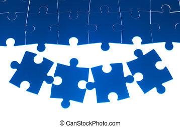 bleu, puzzle, blanc, isolé, fond