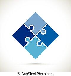 bleu, puzzle, fond, morceaux