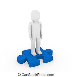 bleu, puzzle, humain, 3d