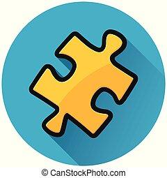 bleu, puzzle, puzzle, cercle, icône