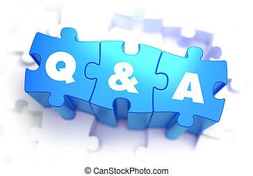 bleu, puzzles., question, -, texte, réponse