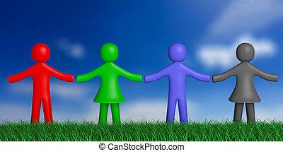 bleu, quatre, humain, coloré, nature, ciel, illustration, herbe, arrière-plan., figures, tenant mains, 3d