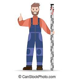 bleu, râteau, illustration., corail, jacket., arpenteur, vecteur, combinaison