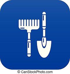 bleu, râteau, main, exclusivité, vecteur, icône