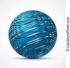bleu, réaliste, résumé, ombre, sphère
