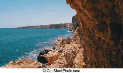 bleu, récifs, rocheux, corail, baie, littoral, mer, vagues, egypt., plage