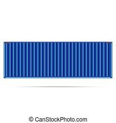 bleu, récipient cargaison, isolé, expédition, vecteur, fret, populaire, te