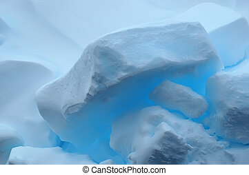 bleu, réflexions, banquise, glace